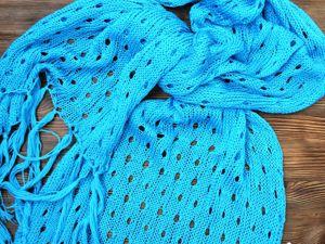Аукцион № 2! Бирюзовый шарф из 100% хлопка от 500 руб!!. Ярмарка Мастеров - ручная работа, handmade.