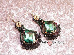 """Создаем серьги с кружевом """"Emerald luxury"""". Ярмарка Мастеров - ручная работа, handmade."""