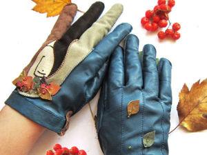 Кожаные перчатки с асимметричным рисунком с нуля. Ярмарка Мастеров - ручная работа, handmade.