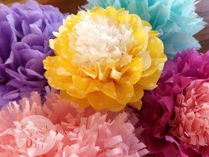 Мастерим цветы-помпоны из бумаги тишью или салфеток за пару минут. Ярмарка Мастеров - ручная работа, handmade.