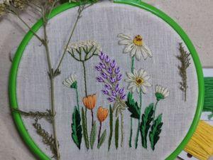 Вышиваем полевые цветы гладью: урок для начинающих. Ярмарка Мастеров - ручная работа, handmade.