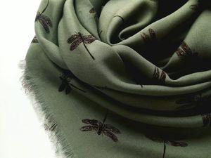 Платок зеленый стрекоза. Повтор. Ярмарка Мастеров - ручная работа, handmade.