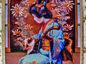 Алмазная мозайка  «Японка играет на сямисэне». Ярмарка Мастеров - ручная работа, handmade.