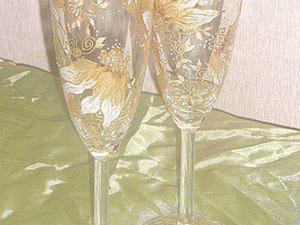 Мастер-класс: витражная роспись бокалов «Пьяные цветы». Ярмарка Мастеров - ручная работа, handmade.