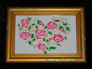 Панно-валентинка в технике витражной росписи. Ярмарка Мастеров - ручная работа, handmade.