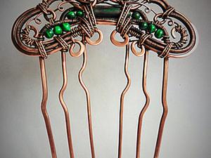 Делаем гребень для волос в технике wire wrap. Ярмарка Мастеров - ручная работа, handmade.