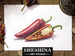 Как нарисовать красные перцы сухой пастелью. Видеоурок. Ярмарка Мастеров - ручная работа, handmade.