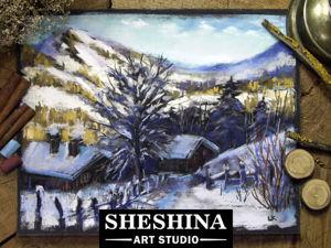 Видеоурок: рисуем зимнюю деревушку в горах сухой пастелью. Ярмарка Мастеров - ручная работа, handmade.
