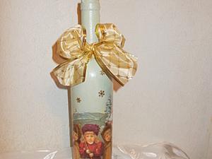Новогодний декупаж бутылки. Быстро и просто.. Ярмарка Мастеров - ручная работа, handmade.