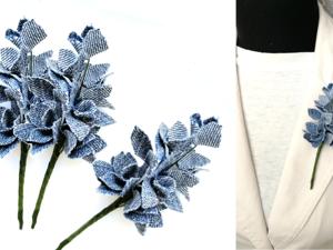 Создаем букет цветов из джинсовой ткани. Ярмарка Мастеров - ручная работа, handmade.