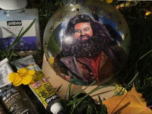 Рисуем на шарике миниатюрный портрет Хагрида из Гарри Поттера. Ярмарка Мастеров - ручная работа, handmade.