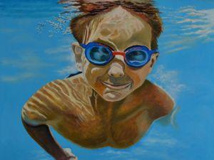 Картина  «Ныряющий мальчик». Ярмарка Мастеров - ручная работа, handmade.