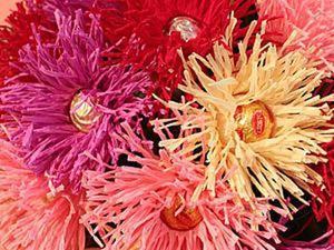 Делаем цветок игольчатой астры с конфеткой. Ярмарка Мастеров - ручная работа, handmade.