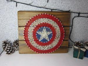 Щит Капитана Америка в технике String Art. Ярмарка Мастеров - ручная работа, handmade.