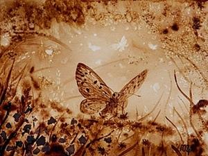 """Кофейный рисунок на бумаге """"Бабочка"""". Ярмарка Мастеров - ручная работа, handmade."""