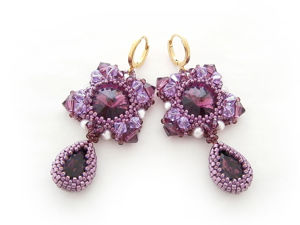 Creating ''Amedea'' Earrings from Beads and Swarovski Crystals. Livemaster - handmade