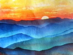 Видео мастер-класс: создаем на хлопке картину «Закат в горах» в технике горячий батик. Ярмарка Мастеров - ручная работа, handmade.
