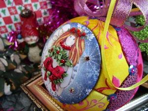 Ёлочный шар  «Солнечный ангел»  (видеопрезентация) от Yuliya Laborera. Ярмарка Мастеров - ручная работа, handmade.