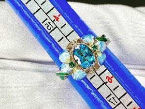 Кольцо Ирис с природным голубым топазом. Ярмарка Мастеров - ручная работа, handmade.
