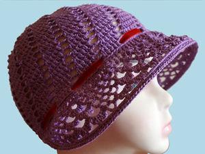 Вяжем крючком шляпку а-ля капор. Ярмарка Мастеров - ручная работа, handmade.