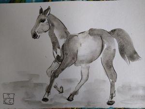 Риуем лошадь акварелью на китайский манер. Ярмарка Мастеров - ручная работа, handmade.