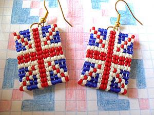 Как сделать сережки из бисера с британским флагом. Ярмарка Мастеров - ручная работа, handmade.
