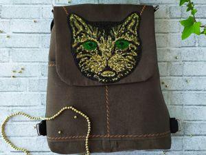 Джинсовый рюкзак-сумка с котиком. Ярмарка Мастеров - ручная работа, handmade.