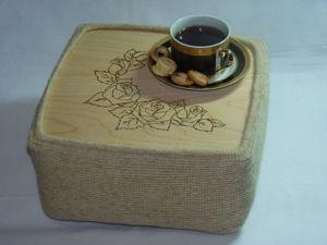 Мастерим оригинальный столик на подушке «Чайные розы». Ярмарка Мастеров - ручная работа, handmade.