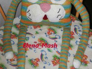 Вяжем подушку-игрушку «Веселый котик». Ярмарка Мастеров - ручная работа, handmade.