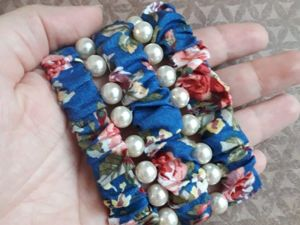 Шьем широкий браслет из ткани и бусин. Ярмарка Мастеров - ручная работа, handmade.
