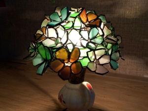 Делаем 3D витраж из морского стекла: лампа Тиффани из объемных цветов. Ярмарка Мастеров - ручная работа, handmade.