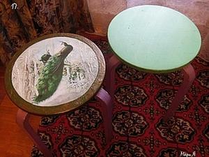 Переделка табуретки: Декупаж с объемными элементами.. Ярмарка Мастеров - ручная работа, handmade.