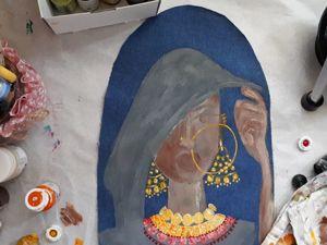 Рисуем портрет на ткани. Индийская невеста. Часть 1. Ярмарка Мастеров - ручная работа, handmade.