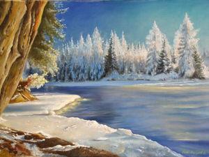 """Пишем пейзаж """"Зимушка"""". Ярмарка Мастеров - ручная работа, handmade."""