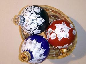 Расписываем ёлочные шарики пальчиками. Ярмарка Мастеров - ручная работа, handmade.