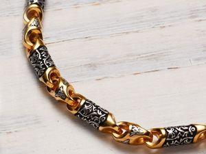 Православная мужская массивная цепь из серебра с позолотой. Ярмарка Мастеров - ручная работа, handmade.