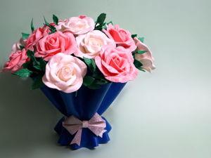 Ваза «Цветочная упаковка» и букет роз из изолона. Ярмарка Мастеров - ручная работа, handmade.