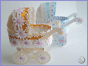 Подробный мастер-класс по изготовлению детской коляски из картона. Ярмарка Мастеров - ручная работа, handmade.