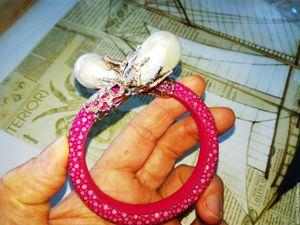 Скидка 20% на браслеты из кожи ската с жемчугом  «Барокко». Ярмарка Мастеров - ручная работа, handmade.