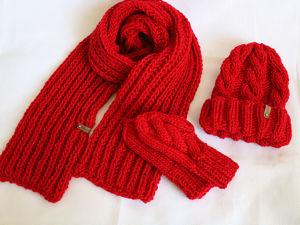 Новинка! Вязаная шапка, шарф и варежки крупной вязки. Ярмарка Мастеров - ручная работа, handmade.