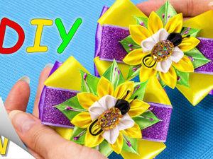 Делаем бантики с пчелками из атласных лент: видео мастер-класс. Ярмарка Мастеров - ручная работа, handmade.