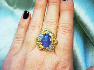 Скидка 25% на кольцо с танзанитом (кабошон). Ярмарка Мастеров - ручная работа, handmade.