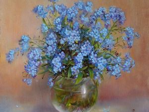 Painting Forget-me-Nots with Oil on Canvas. Livemaster - hecho a mano - handmade.