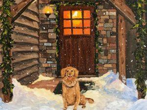 Пишем маслом новогоднюю картину с собакой. Ярмарка Мастеров - ручная работа, handmade.