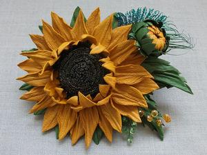 Tutorial: Leather Sunflower Brooch. Livemaster - handmade