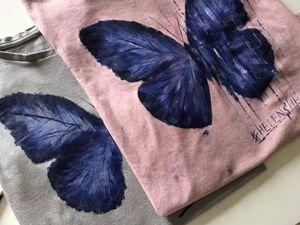 Рисуем на футболке бабочку. Ярмарка Мастеров - ручная работа, handmade.