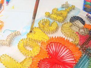Картина в технике String Art  на День всех влюбленных. Ярмарка Мастеров - ручная работа, handmade.