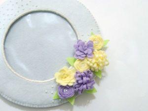 Шьём круглую фоторамку с весенними цветами из фетра. Ярмарка Мастеров - ручная работа, handmade.