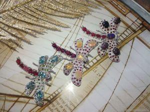 Спеццена! Брошь-стрекоза  «Легкость бытия»  с натуральными камнями в серебре. Ярмарка Мастеров - ручная работа, handmade.