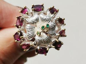 Видео кольца с натуральным родолитом. Ярмарка Мастеров - ручная работа, handmade.